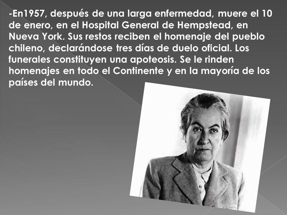 -En1957, después de una larga enfermedad, muere el 10 de enero, en el Hospital General de Hempstead, en Nueva York.