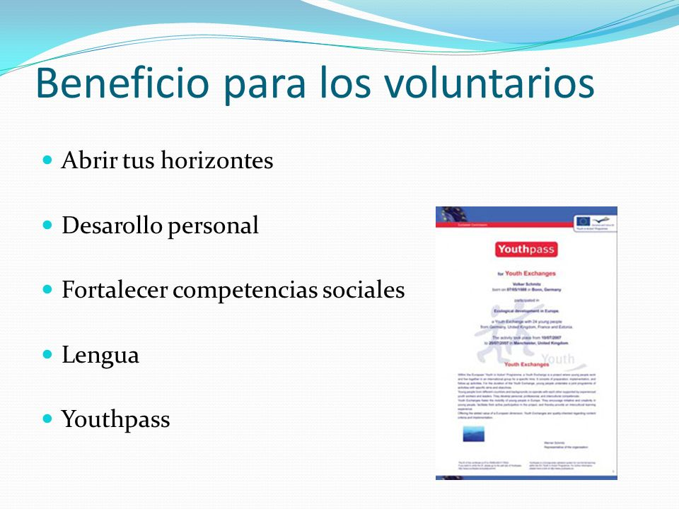 Beneficio para los voluntarios