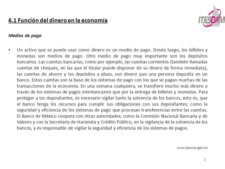 6.1 Función del dinero en la economía