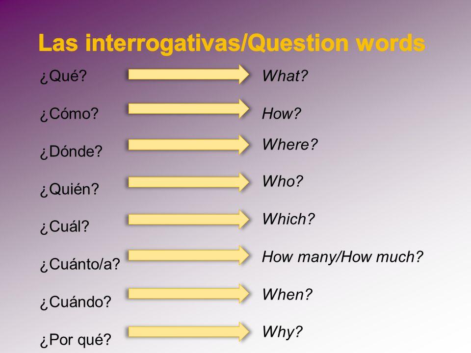 Las interrogativas/Question words