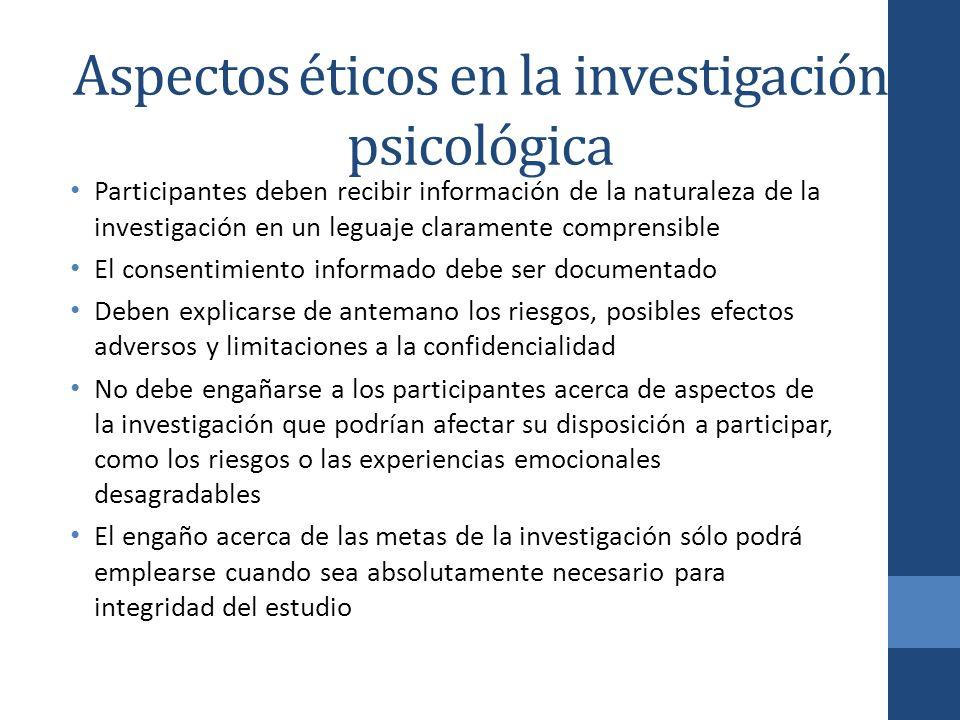Aspectos éticos en la investigación psicológica