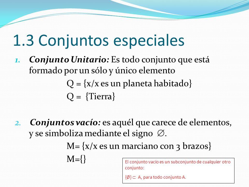 1.3 Conjuntos especiales Conjunto Unitario: Es todo conjunto que está formado por un sólo y único elemento.