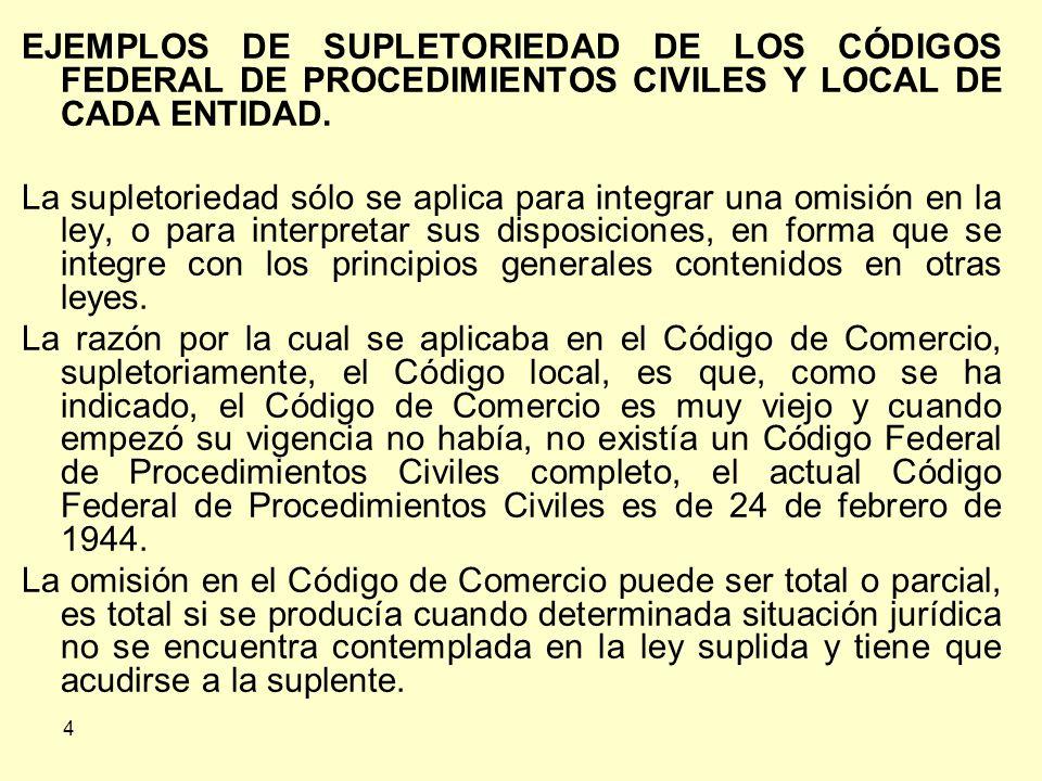 EJEMPLOS DE SUPLETORIEDAD DE LOS CÓDIGOS FEDERAL DE PROCEDIMIENTOS CIVILES Y LOCAL DE CADA ENTIDAD.