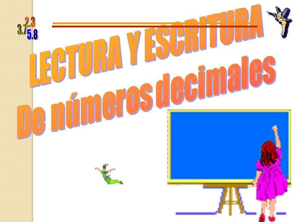 LECTURA Y ESCRITURA De números decimales 5.8 2.3 3.7