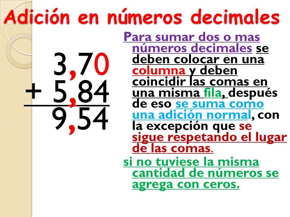 Adición en números decimales