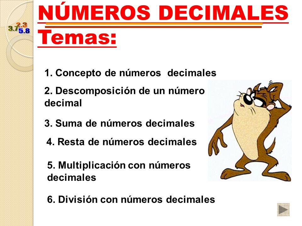 NÚMEROS DECIMALES Temas: 1. Concepto de números decimales