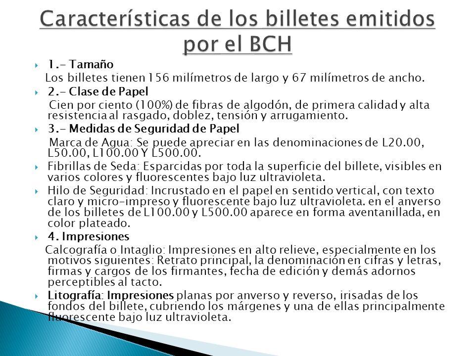 Características de los billetes emitidos por el BCH