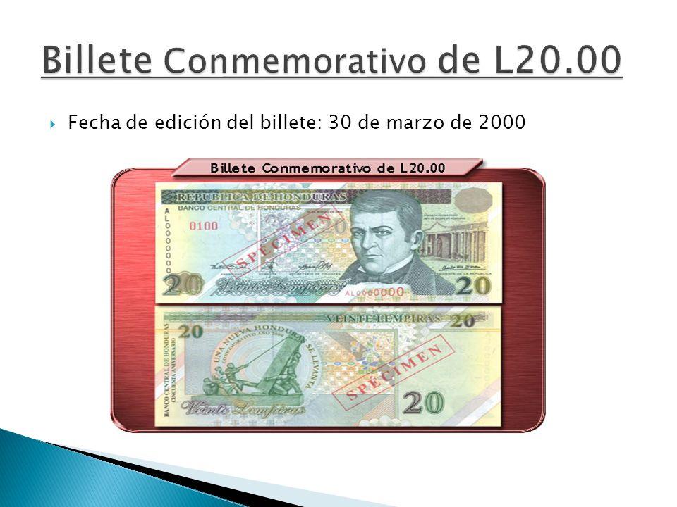 Billete Conmemorativo de L20.00