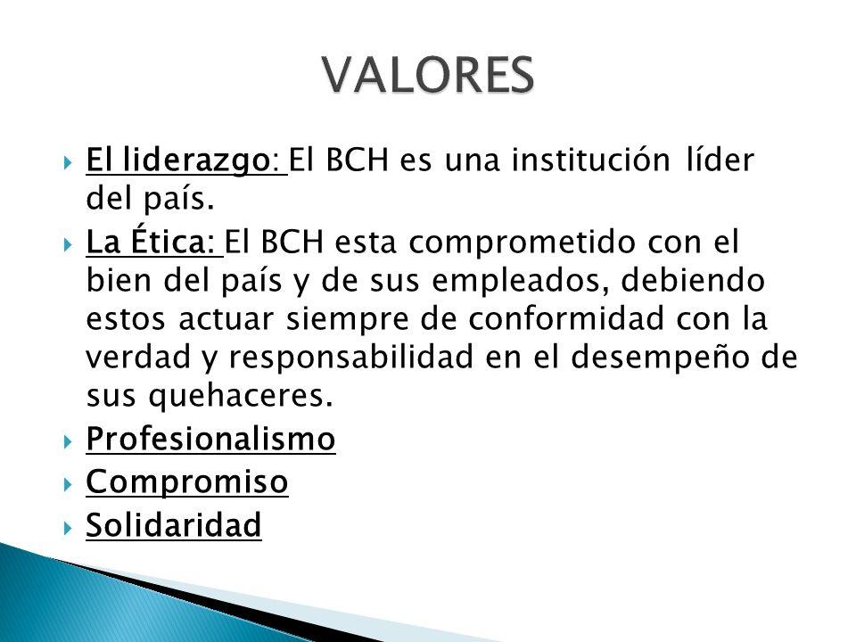 VALORES El liderazgo: El BCH es una institución líder del país.
