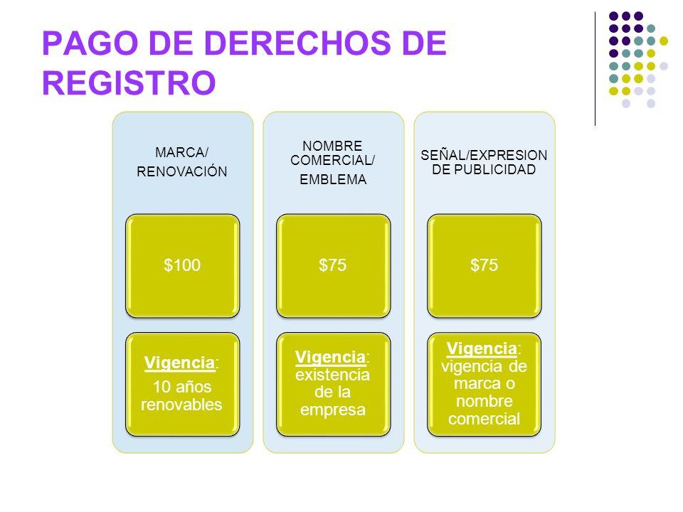 PAGO DE DERECHOS DE REGISTRO