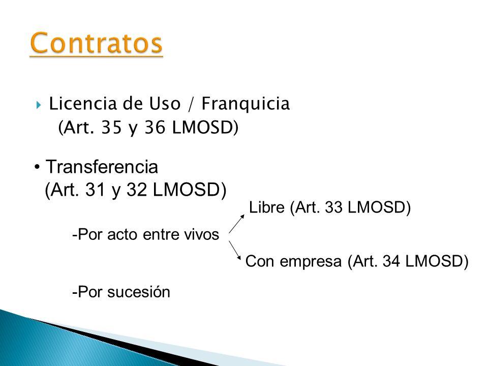 Contratos Transferencia (Art. 31 y 32 LMOSD)