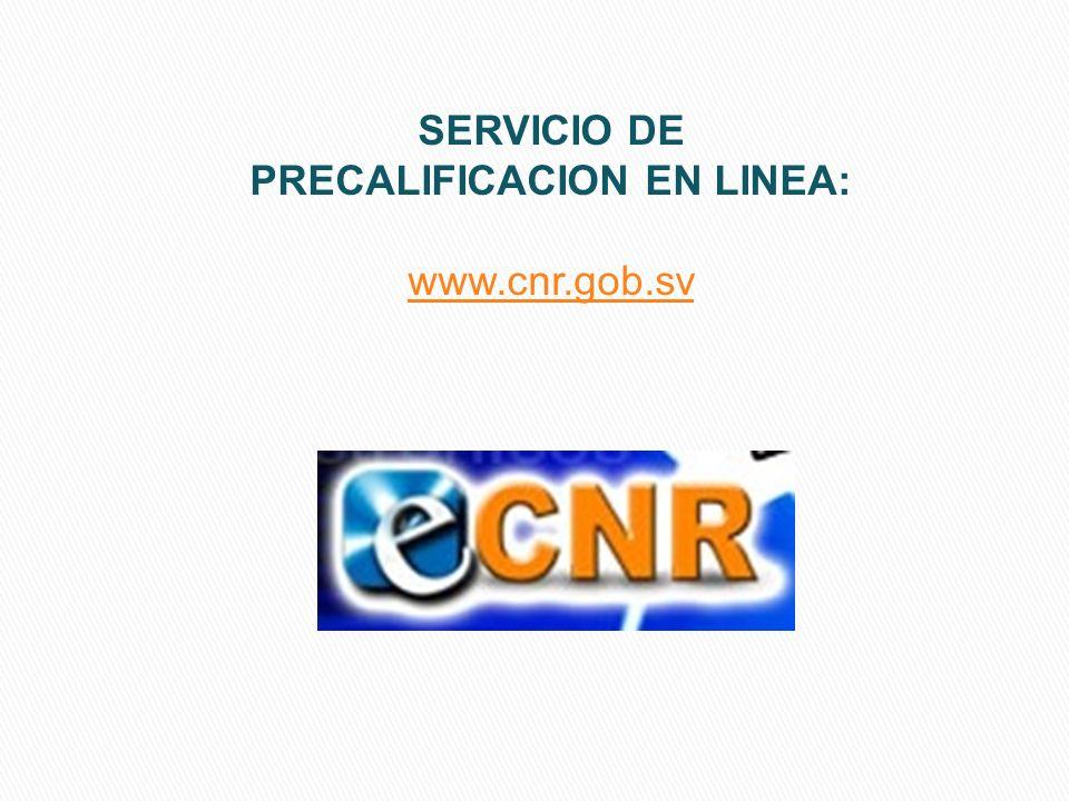 SERVICIO DE PRECALIFICACION EN LINEA: