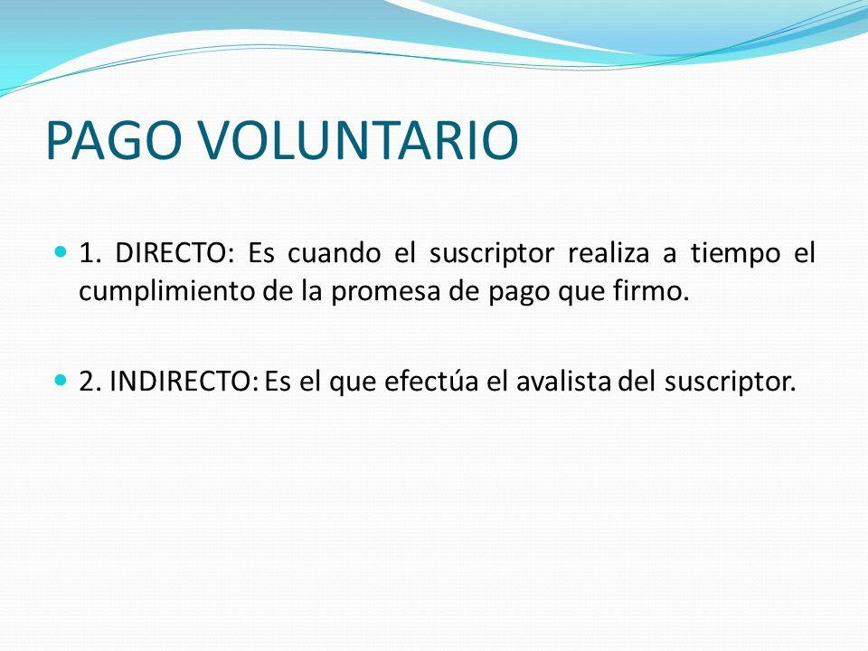 PAGO VOLUNTARIO 1. DIRECTO: Es cuando el suscriptor realiza a tiempo el cumplimiento de la promesa de pago que firmo.