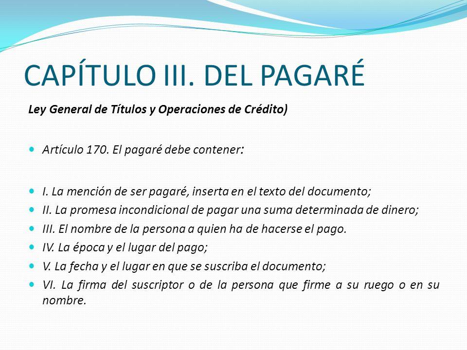 CAPÍTULO III. DEL PAGARÉ