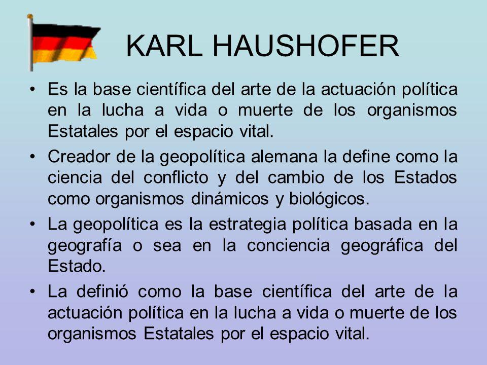 KARL HAUSHOFER Es la base científica del arte de la actuación política en la lucha a vida o muerte de los organismos Estatales por el espacio vital.