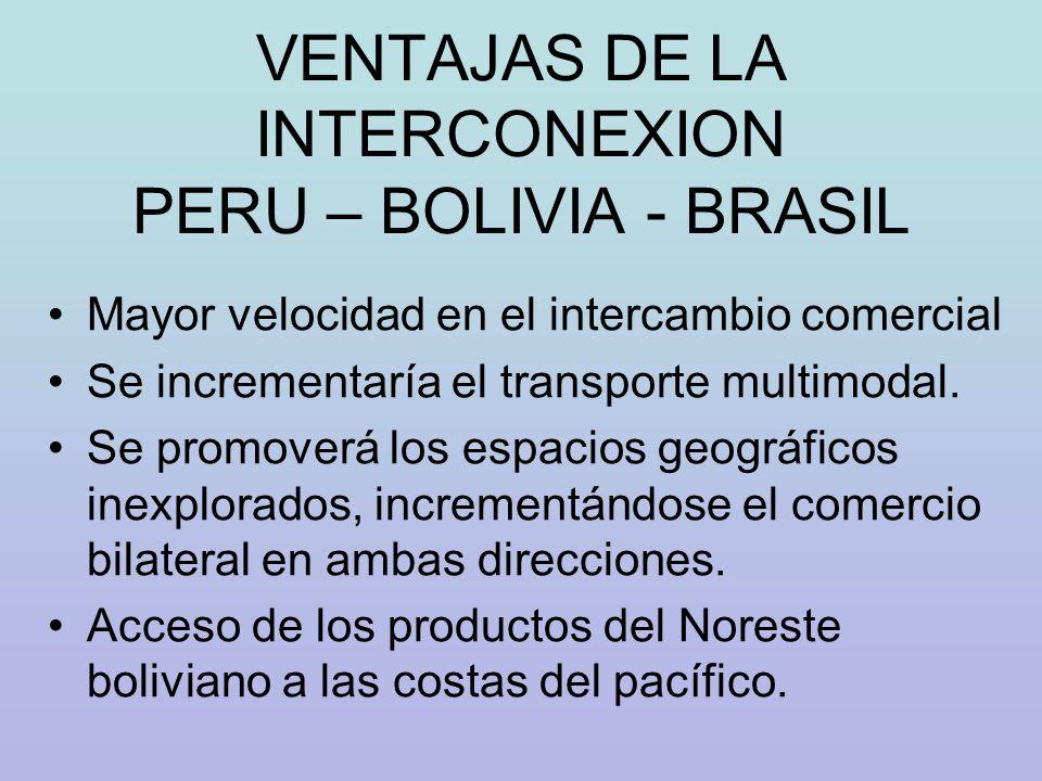 VENTAJAS DE LA INTERCONEXION PERU – BOLIVIA - BRASIL