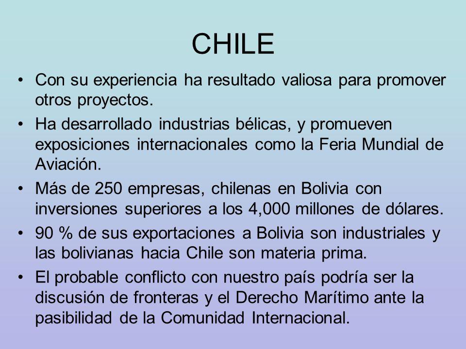 CHILE Con su experiencia ha resultado valiosa para promover otros proyectos.