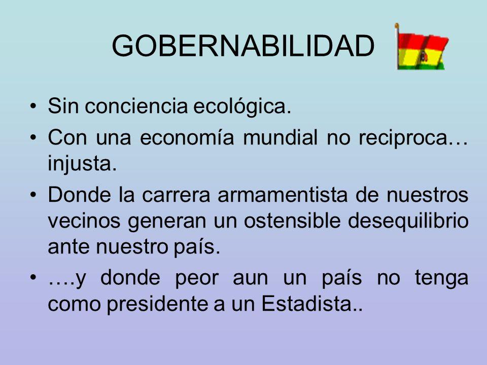 GOBERNABILIDAD Sin conciencia ecológica.