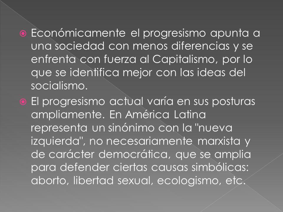 Económicamente el progresismo apunta a una sociedad con menos diferencias y se enfrenta con fuerza al Capitalismo, por lo que se identifica mejor con las ideas del socialismo.