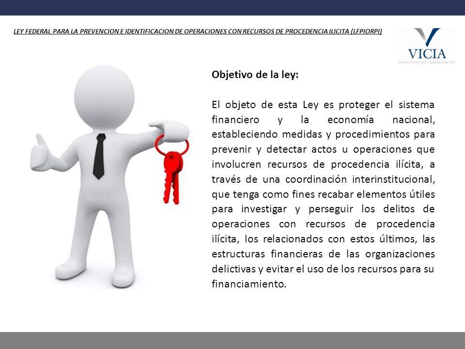 LEY FEDERAL PARA LA PREVENCION E IDENTIFICACION DE OPERACIONES CON RECURSOS DE PROCEDENCIA ILICITA (LFPIORPI)