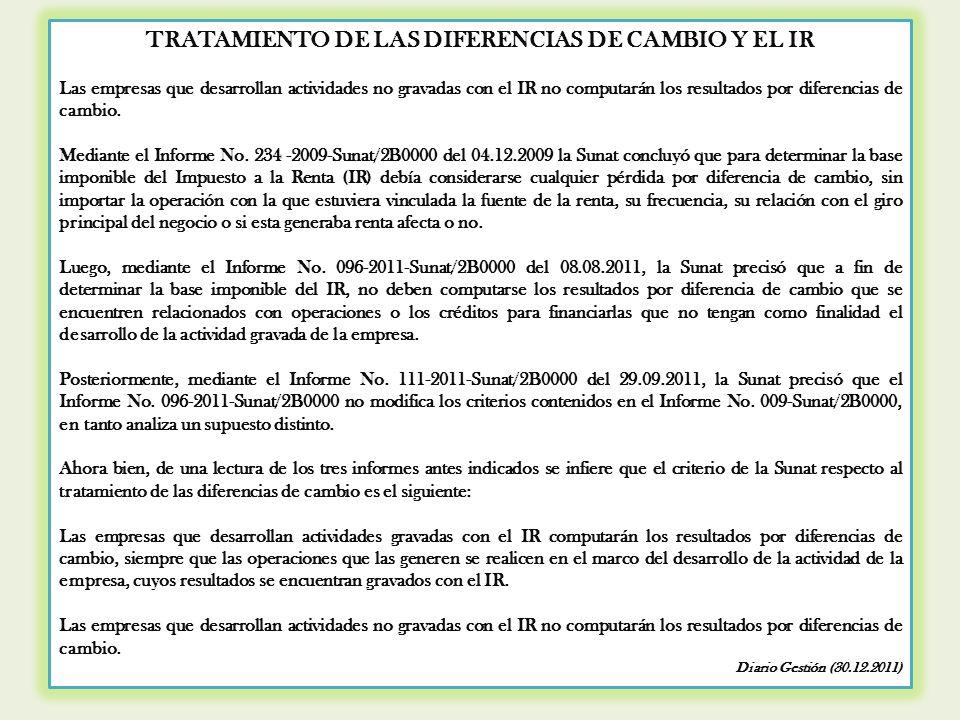 TRATAMIENTO DE LAS DIFERENCIAS DE CAMBIO Y EL IR
