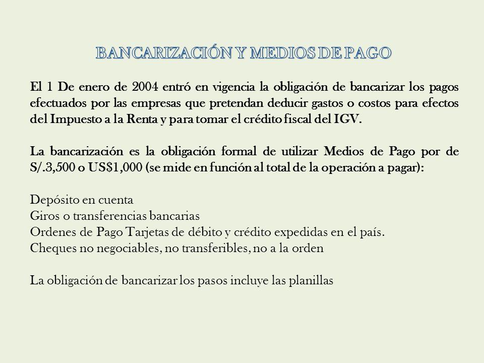 BANCARIZACIÓN Y MEDIOS DE PAGO