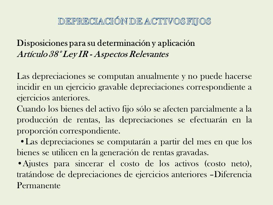 DEPRECIACIÓN DE ACTIVOS FIJOS