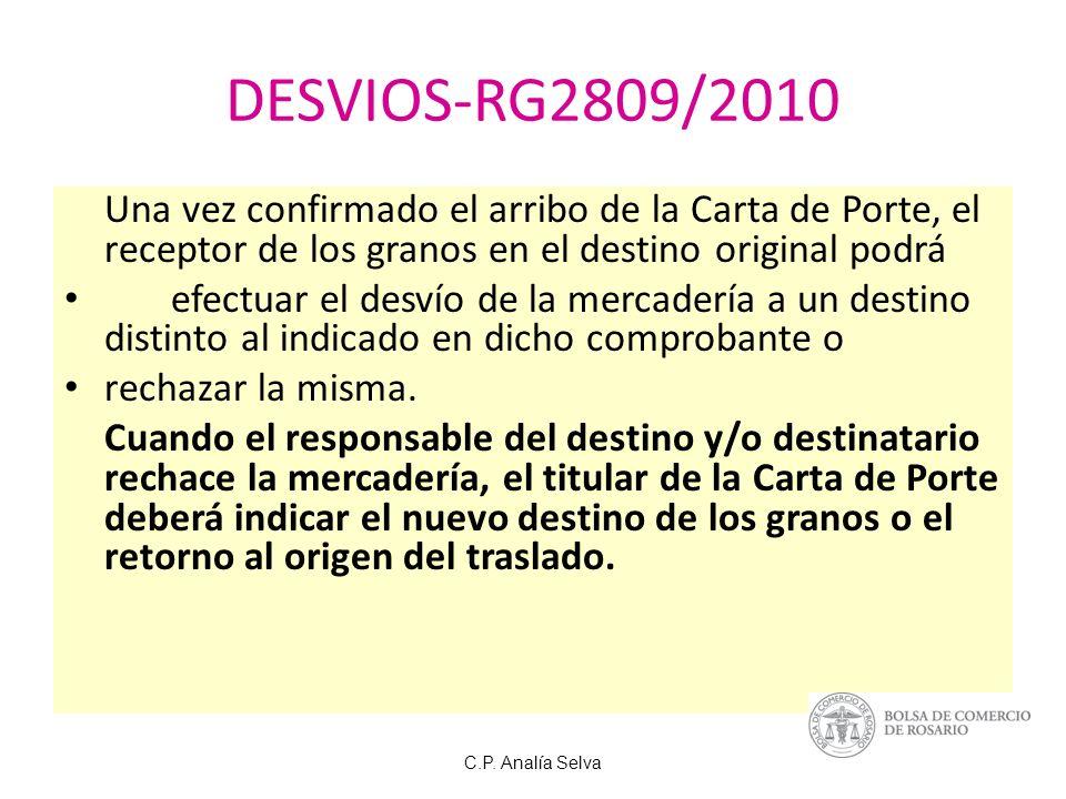 DESVIOS-RG2809/2010 Una vez confirmado el arribo de la Carta de Porte, el receptor de los granos en el destino original podrá.