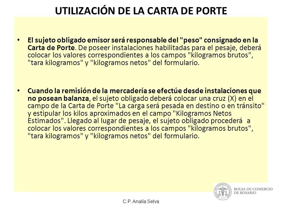UTILIZACIÓN DE LA CARTA DE PORTE