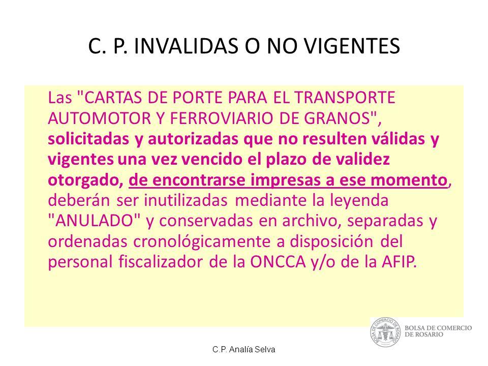 C. P. INVALIDAS O NO VIGENTES