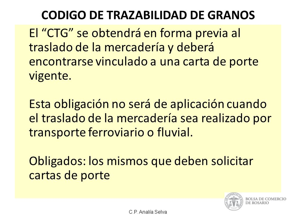 CODIGO DE TRAZABILIDAD DE GRANOS