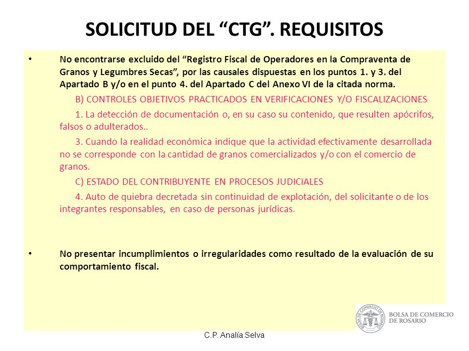 SOLICITUD DEL CTG . REQUISITOS