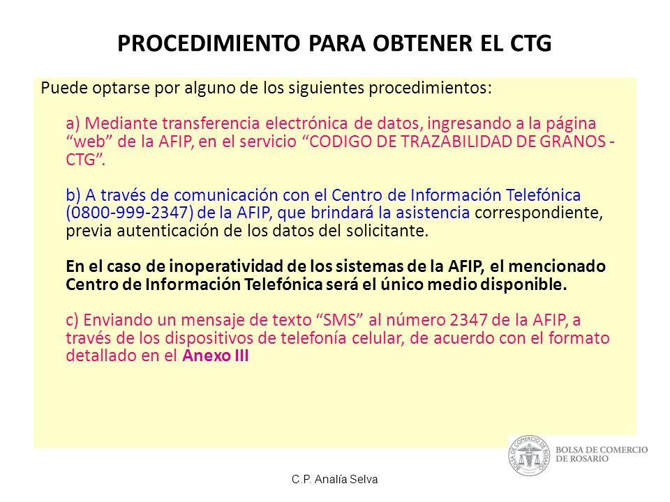 PROCEDIMIENTO PARA OBTENER EL CTG