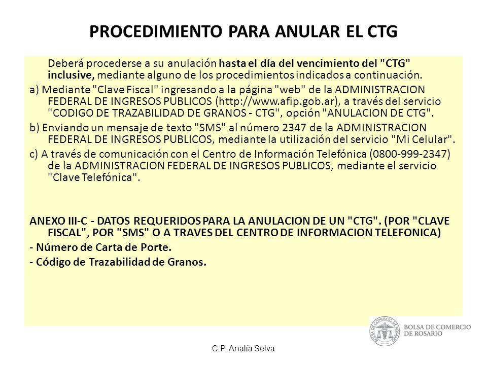PROCEDIMIENTO PARA ANULAR EL CTG