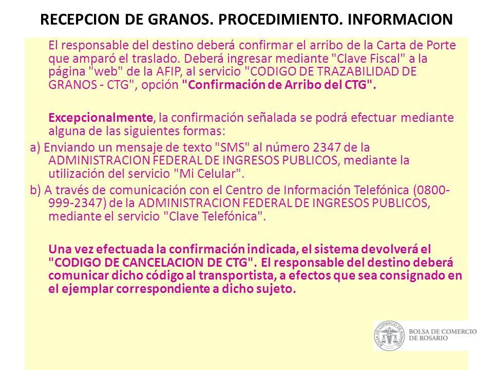 RECEPCION DE GRANOS. PROCEDIMIENTO. INFORMACION