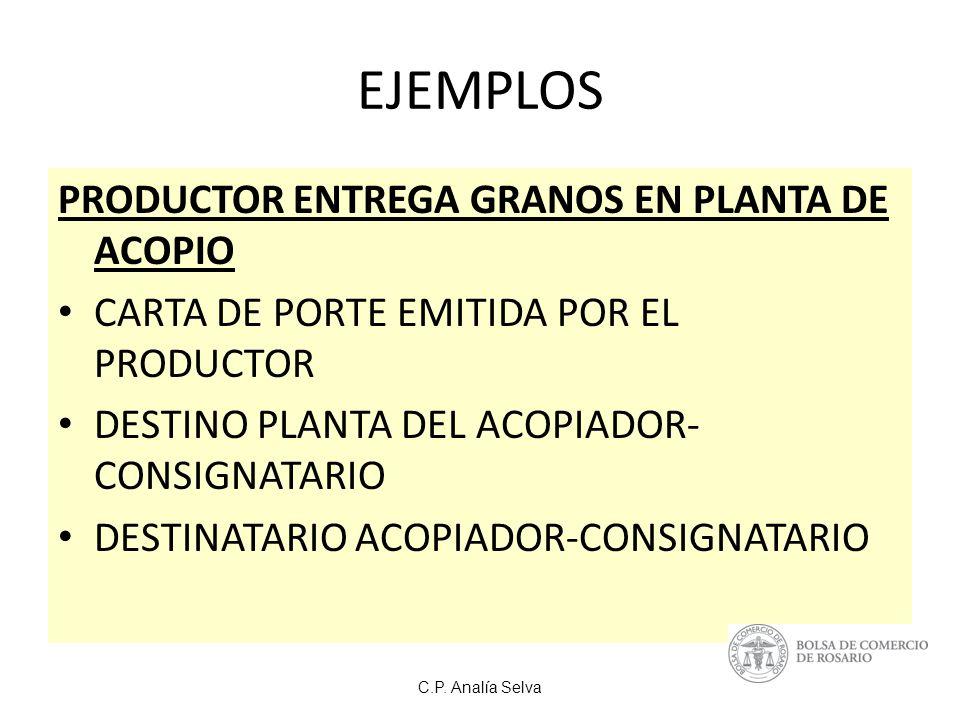 EJEMPLOS PRODUCTOR ENTREGA GRANOS EN PLANTA DE ACOPIO