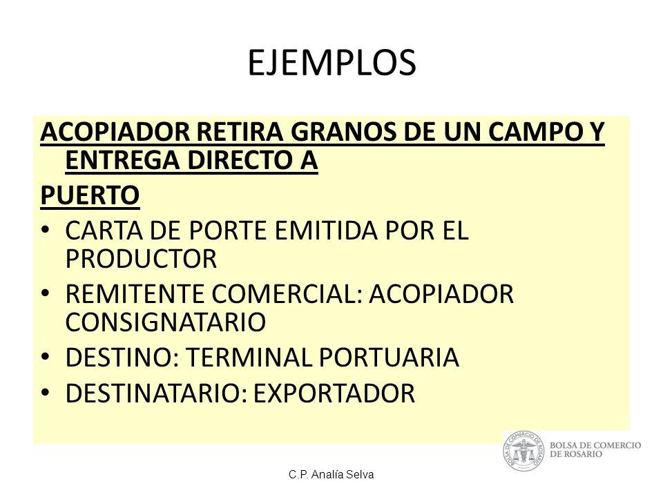 EJEMPLOS ACOPIADOR RETIRA GRANOS DE UN CAMPO Y ENTREGA DIRECTO A