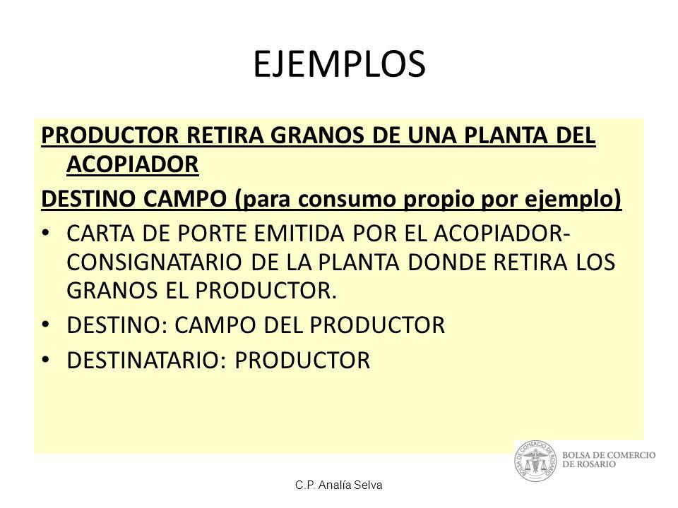 EJEMPLOS PRODUCTOR RETIRA GRANOS DE UNA PLANTA DEL ACOPIADOR