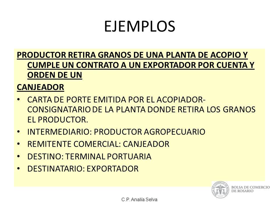 EJEMPLOS PRODUCTOR RETIRA GRANOS DE UNA PLANTA DE ACOPIO Y CUMPLE UN CONTRATO A UN EXPORTADOR POR CUENTA Y ORDEN DE UN.