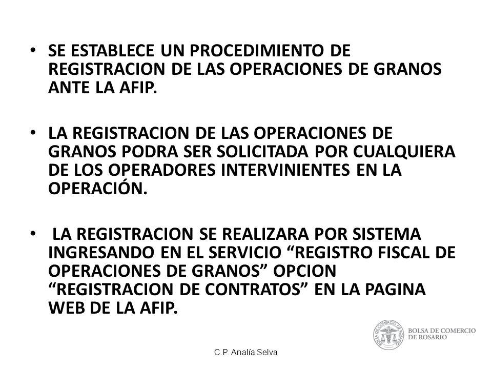 SE ESTABLECE UN PROCEDIMIENTO DE REGISTRACION DE LAS OPERACIONES DE GRANOS ANTE LA AFIP.