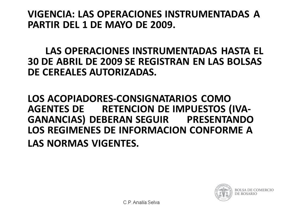 VIGENCIA: LAS OPERACIONES INSTRUMENTADAS A PARTIR DEL 1 DE MAYO DE 2009.