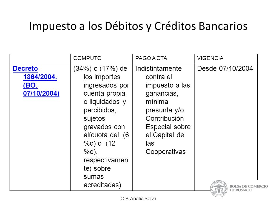 Impuesto a los Débitos y Créditos Bancarios