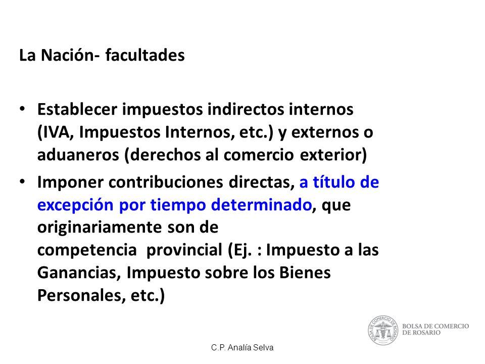 La Nación- facultades Establecer impuestos indirectos internos (IVA, Impuestos Internos, etc.) y externos o aduaneros (derechos al comercio exterior)