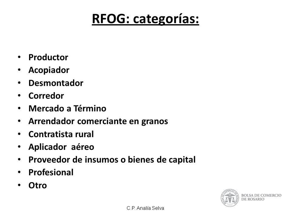 RFOG: categorías: Productor Acopiador Desmontador Corredor