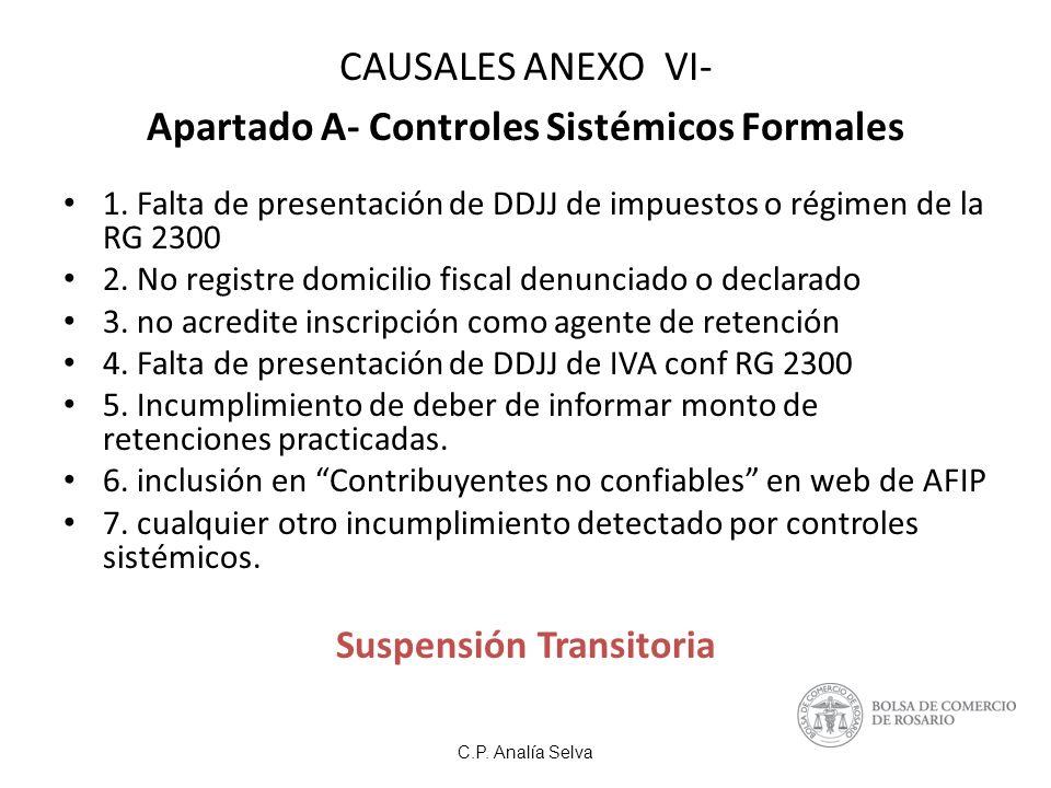 CAUSALES ANEXO VI- Apartado A- Controles Sistémicos Formales