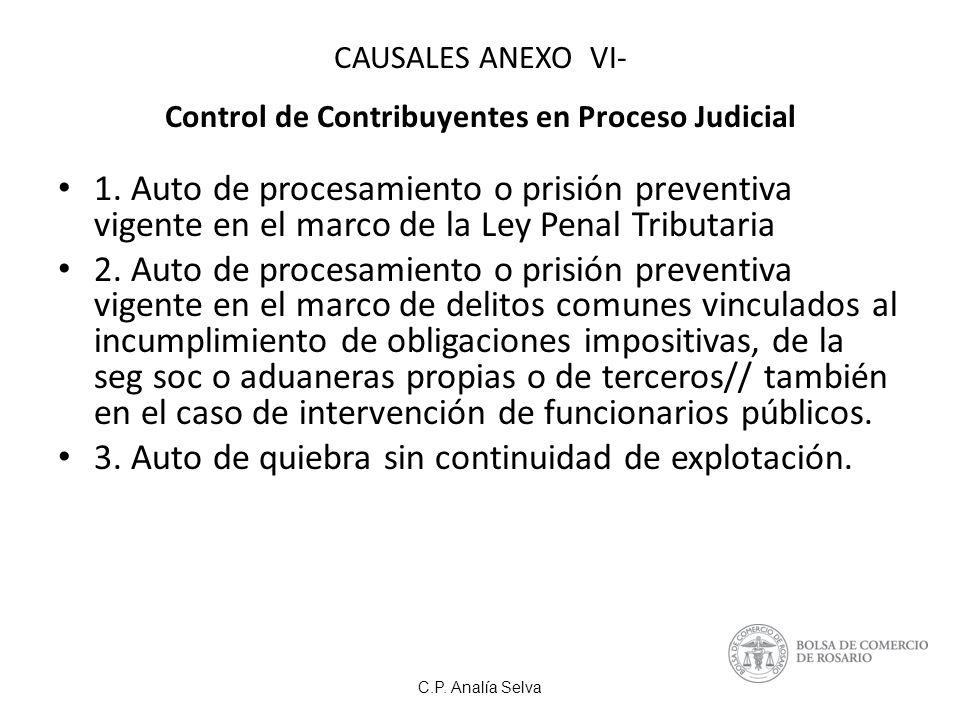 CAUSALES ANEXO VI- Control de Contribuyentes en Proceso Judicial