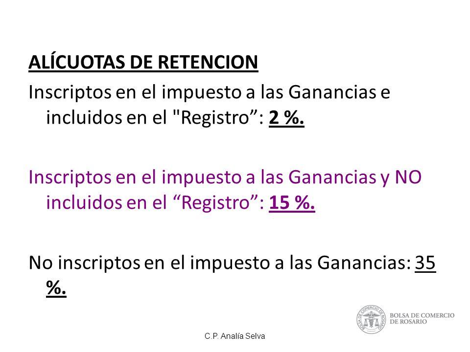 ALÍCUOTAS DE RETENCION