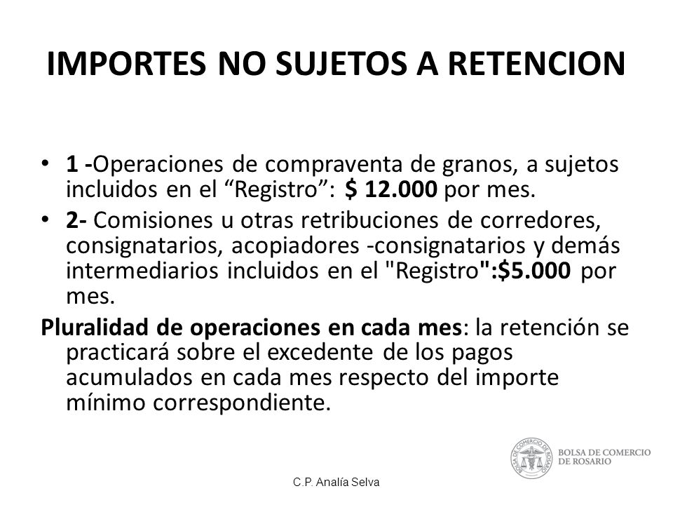IMPORTES NO SUJETOS A RETENCION