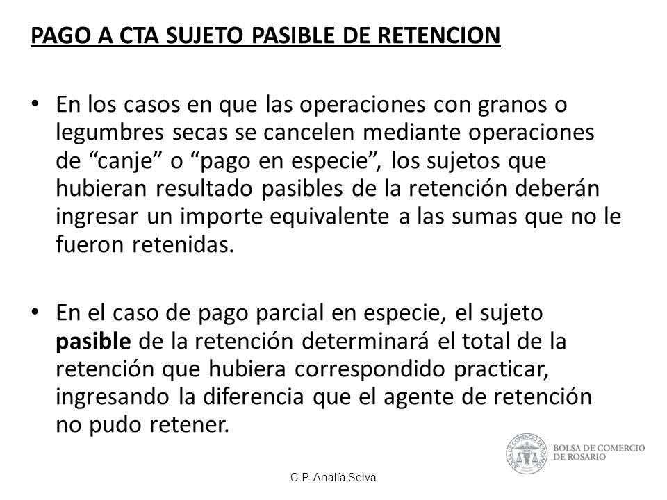 PAGO A CTA SUJETO PASIBLE DE RETENCION