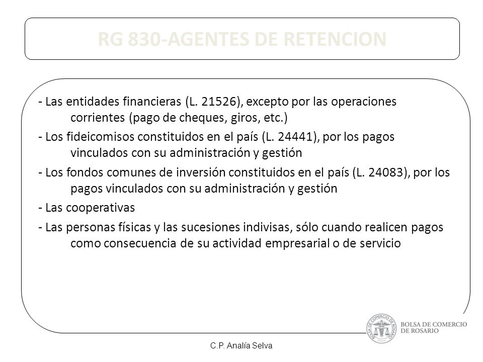 RG 830-AGENTES DE RETENCION